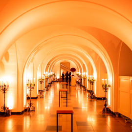 The Undercroft in amber uplighting
